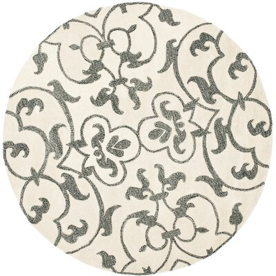 Cornwall Hand-Tufted Ivory/Grey Contemporary Area Rug Rug Size: Round 6