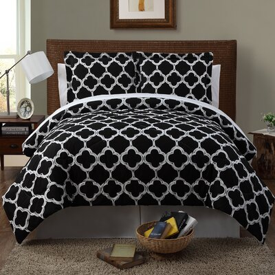 Droylsden 6 Piece Reversible Comforter Set Color: Black / White, Size: King