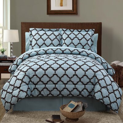 Kamdyn 6 Piece Reversible Comforter Set Color: Blue / Chocolate, Size: Queen