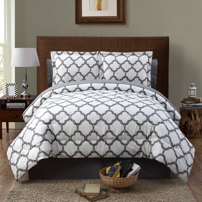 Kamdyn 6 Piece Reversible Comforter Set Color: Gray, Size: Queen