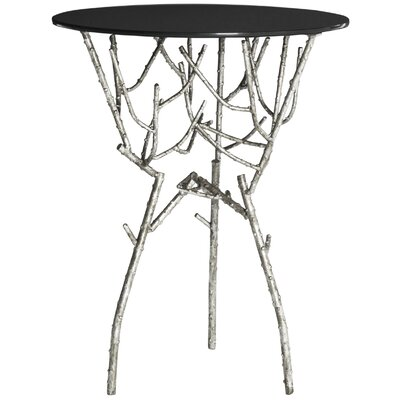 Martin End Table Finish: Silver/Black Glass Top
