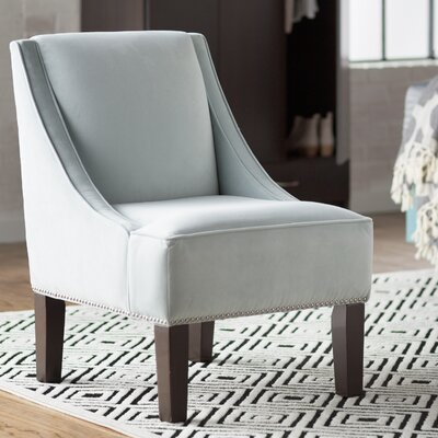 Velvet Nail Button Swoop Arm Chair Color: Pool