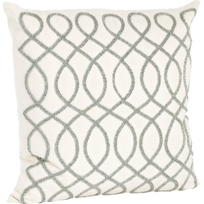 Charleson Swirl Design Beaded Throw Pillow Color: Pewter