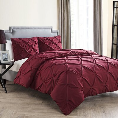 Mignault 4 Piece Comforter Set Color: Burgundy, Size: King