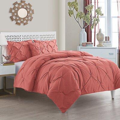 Mignault 4 Piece Comforter Set Color: Coral, Size: King