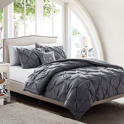 Mignault 4 Piece Comforter Set Color: Gray, Size: King