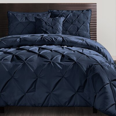 Mignault 4 Piece Comforter Set Color: Navy, Size: King