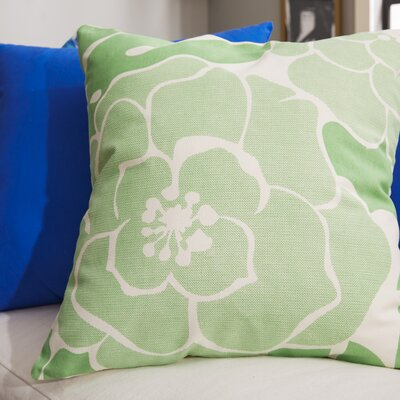 Budleigh Salterton Floral Cotton Throw Pillow Color: Green, Filler: Down