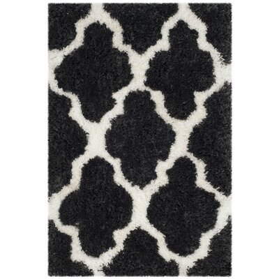 Hand-Tufted Graphite/Ivory Area Rug Rug Size: Rectangle 3 x 5