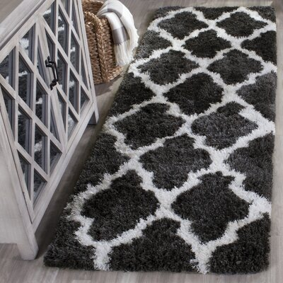 Hand-Tufted Graphite/Ivory Area Rug Rug Size: Rectangle 4 x 6