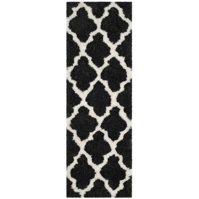 Hand-Tufted Graphite/Ivory Area Rug Rug Size: Runner 23 x 7