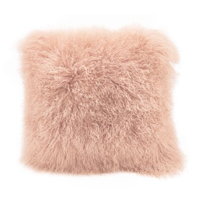 Burel Sheepskin Throw Pillow Color: Rose