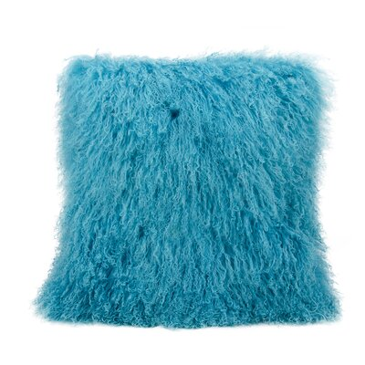 Burel Sheepskin Throw Pillow Color: Turquoise