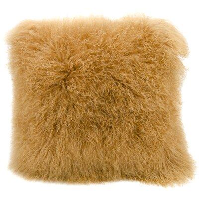 Paola Sheepskin Throw Pillow Color: Amber