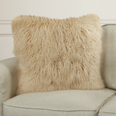 Paola Sheepskin Throw Pillow Color: Beige