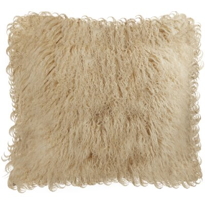 Burel Sheepskin Throw Pillow Color: Beige
