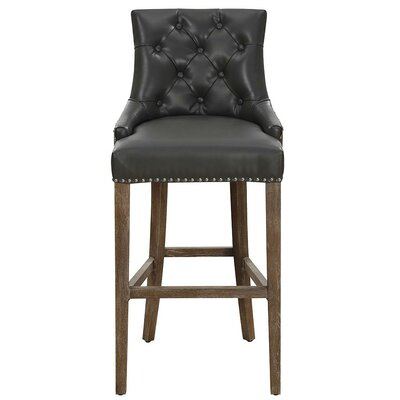 Adneta 26.4 Bar Stool Seat Color: Gray, Frame Color: Brown