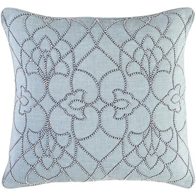 Highworth Linen Throw Pillow Size: 18 H x 18 W x 4 D, Color: Aqua/Denim/White