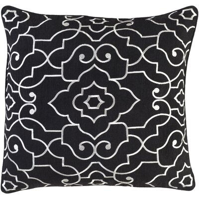 Oldbury Linen Throw Pillow Size: 18 H x 18 W x 4 D, Color: Black/Cream