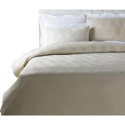 Brettany Duvet Cover Set Size: King, Color: White/Beige