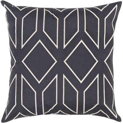 Honiton Linen Throw Pillow Size: 18 H x 18 W x 4 D, Color: Black/Ivory