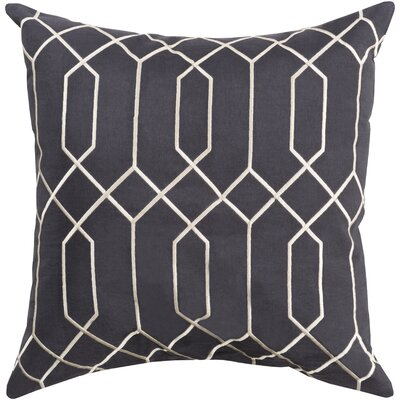 Honiton Linen Throw Pillow Size: 18 H x 18 W x 4 D, Color: Black