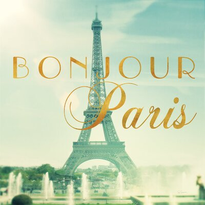 """Image of Paris Fountains Gold Graphic Art on Wrapped Canvas Size: 12"""" H x 12"""" W x 0.75"""" D"""