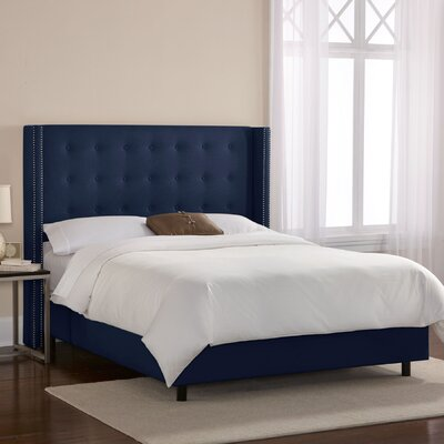 Doleman Upholstered Panel Bed Size: Full, Color: Suede - Patriot Blueberry