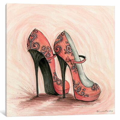 Glitterati Carlita Shoes by Bella Pilar Painting Print on Wrapped Canvas Size: 37