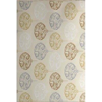 Beige Painterly Bulbs Geometric Print Indoor/Outdoor Area Rug Rug Size: 5 x 7