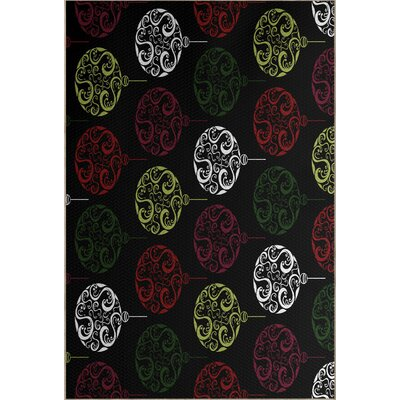 Black Painterly Bulbs Geometric Print Indoor/Outdoor Area Rug Rug Size: Rectangle 2 x 3