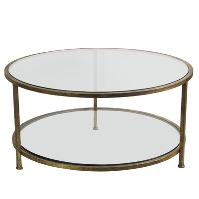 Benigna Coffee Table with Magazine Rack Base Color: Gold Leaf