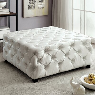 Khader Square Tufted Leather Ottoman Upholstery: White