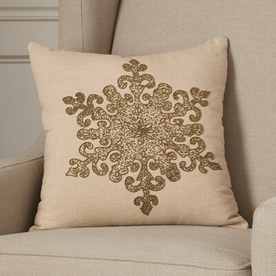 Faversham Snowflake Beaded Cotton Throw Pillow Color: Bronze