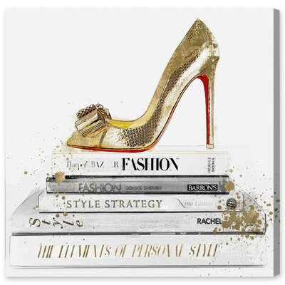 Gold Shoe and Red Sole Graphic Art on Wrapped Canvas Size: 12