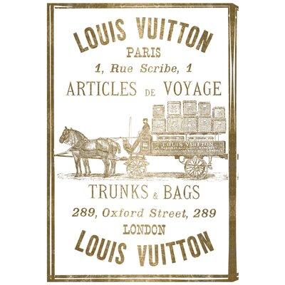 Articles de Voyage Gold Leaf Vintage Advertisement on Wrapped Canvas
