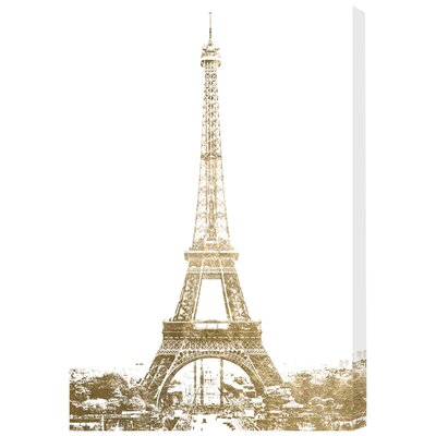 Gold Eiffel Photographic Print on Wrapped Canvas Size: 15