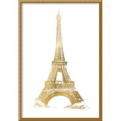 Gold Foil Eiffel Tower Metallic Print Framed Graphic Art