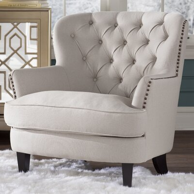 Parmelee Tufted Upholstered Linen Wing back Chair Color: Natural