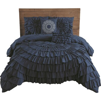 Edgware 5 Piece Comforter Set Size: King, Color: Navy