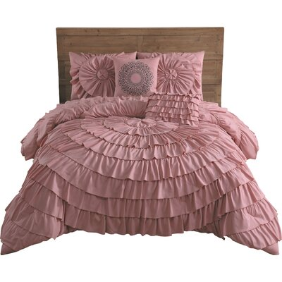 Edgware 5 Piece Comforter Set Size: King, Color: Rose