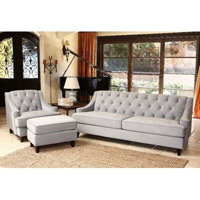 Scarborough 3 Piece Velvet Tufted Living Room Set Color: Taupe