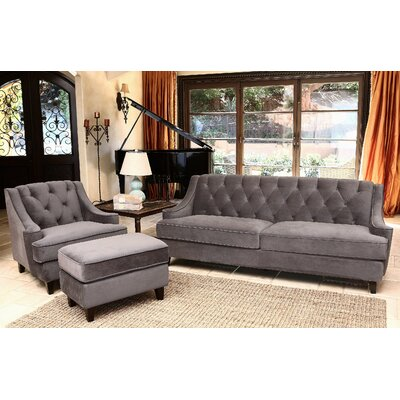 Scarborough 3 Piece Velvet Tufted Living Room Set Color: Gray