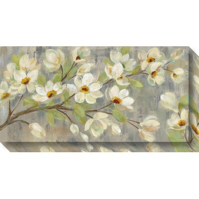 April Branch Magnolias Painting Print on Wrapped Canvas