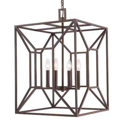 Missy 4-Light Foyer Pendant Finish: Burnished Bronze, Size: 25 H x 16.75 W 16.75 D