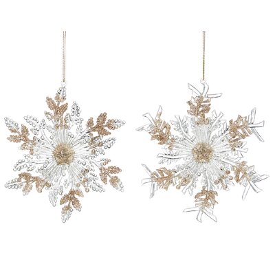 2 Piece Ice Snowflake Ornament Set HOHN7239 31637222
