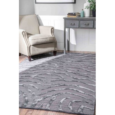 Worcester Hand-Tufted Silver/Gray Area Rug Rug Size: 5 x 8