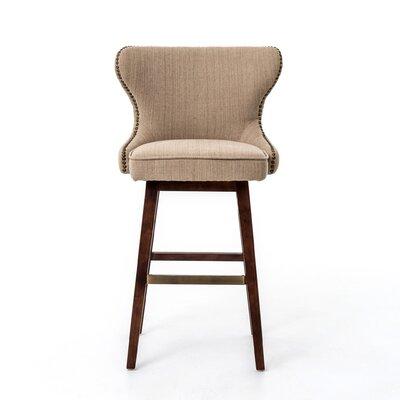 Currey Swivel Bar Stool Upholstery: Fabric - Beige, Finish: Hyde Clay