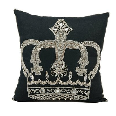 Hertzog Beaded Crown Cotton Throw Pillow