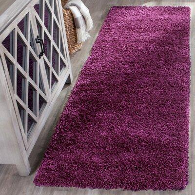 Ampthill Shag Purple Area Rug Rug Size: Runner 2'3